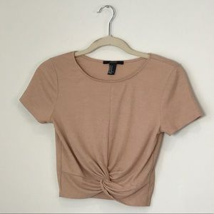 Forever 21 Peachy Beige Cropped Top Front Twist